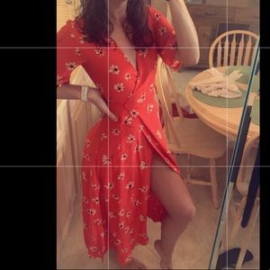 Red wrap dress floral